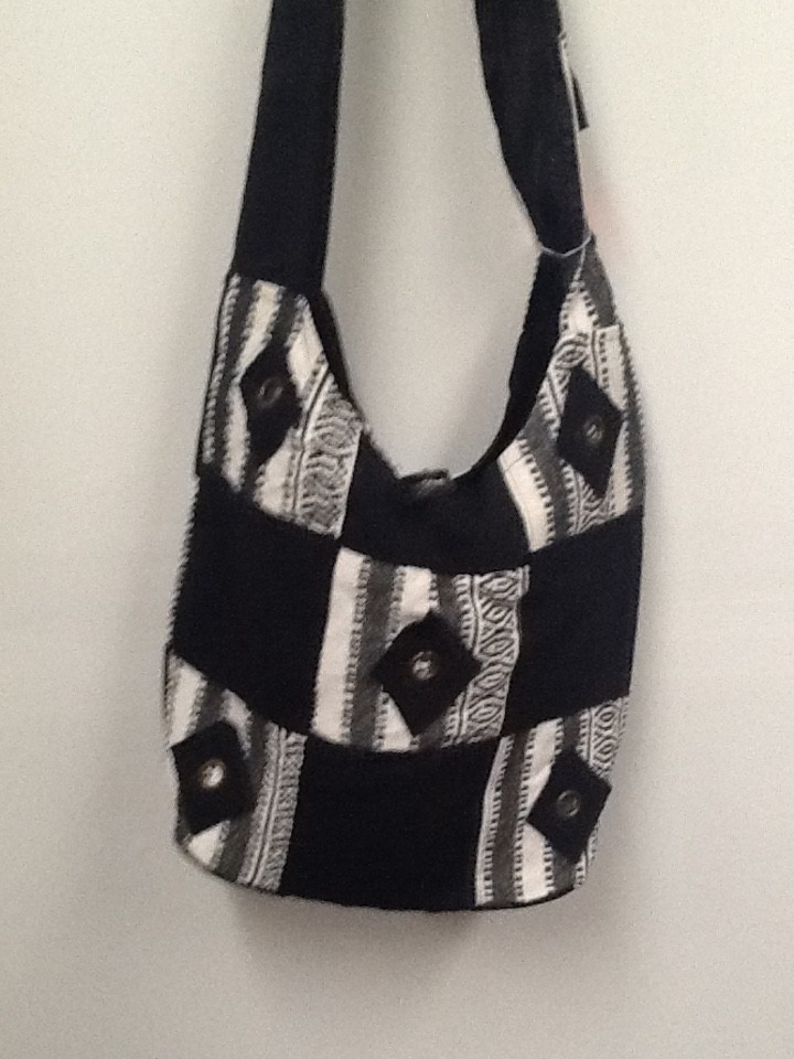Black and White Cloth Crossbody Bag | Purses 2 Go