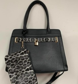 Black Leopard Lock purse