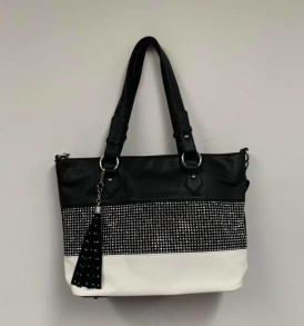 Black Sparkle White Bag
