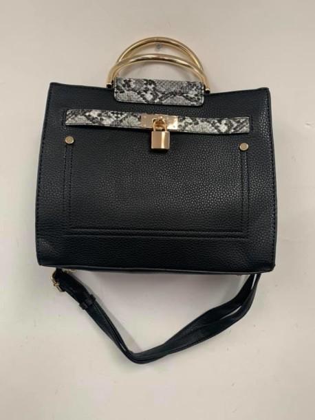 Black with alligator handbag