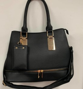 Black zipper with change handbag