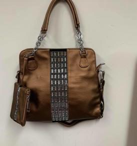 Bronze handbag with change