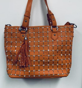 Brownish yellow rhinestone tassell tote