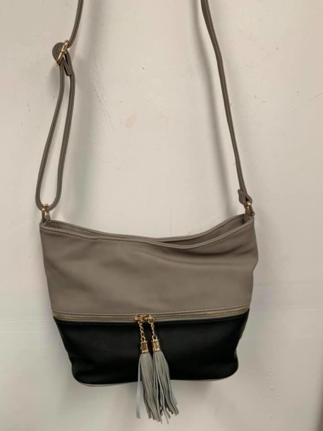 Gray Black Tassell Purse