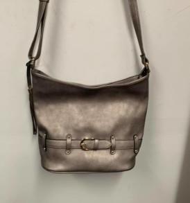 Gray belt purse
