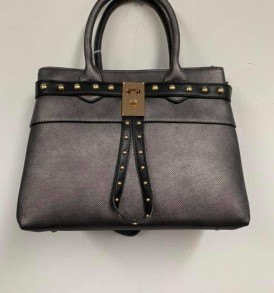 Gray with black stripe handbag