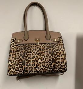 Leopard lock handbag