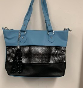 Lt Blue and Black Tote
