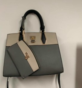 Tan and gray lock purse with change