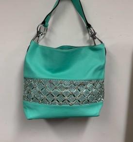 Turquoise rhinestone purse