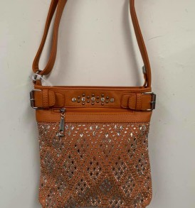 Yellow brown sparkle crossbody